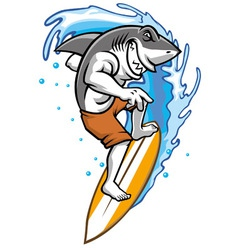 Surfing shark vector