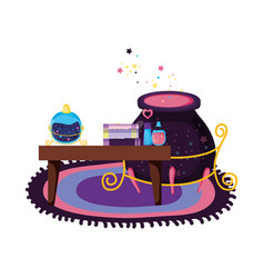 Table wooden with witchcraft items and cauldron vector