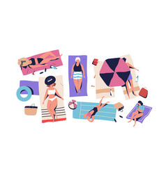 top view set sunbathing people in beachwear vector image