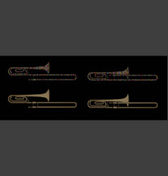 trombone instrument cartoon music graphic vector image