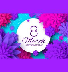 Ultra violet pink paper cut flower 8 march vector