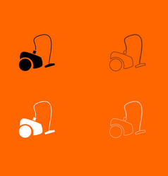 vacuum cleaner black and white set icon vector image