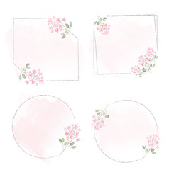 Watercolor pink tiny flower wreath frame on pink vector