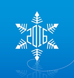 White snowflake on ice with reflection and new vector image