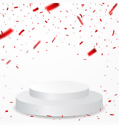 winner podium with red confetti celebration vector image