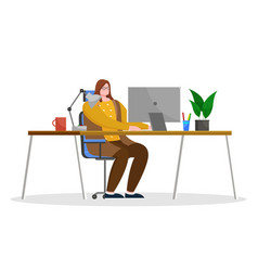 woman work on computer at office cozy workplace vector image