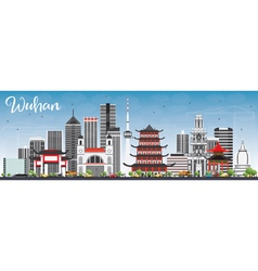 Wuhan Skyline with Gray Buildings vector