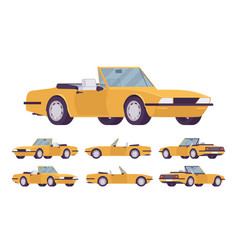 yellow cabriolet car set vector image