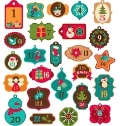 Advent Calendar - tags labelselements vector image