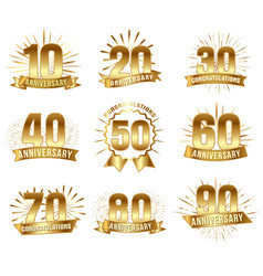 anniversary numbers in gold vector image vector image