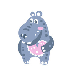 cute smiling cartoon hippo character vector image