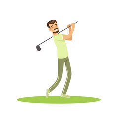 golf player in a green uniform taking a swing vector image vector image