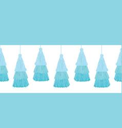 Layered blue decorative tassels set vector