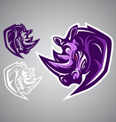 rhino logo emblem vector image vector image