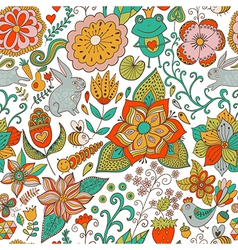 Romantic doodle floral texture Copy that square to vector image