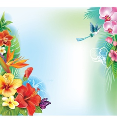 Background from tropical flowers and leaves vector image vector image