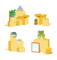 Cardboard Boxes for Moving Set vector image vector image