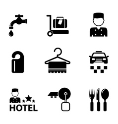 hotel icon services set vector image
