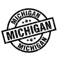 Michigan black round grunge stamp vector