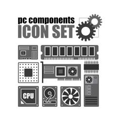 pc components icon set PC service vector image