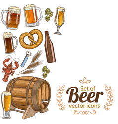 side vertical border with beer icons vector image