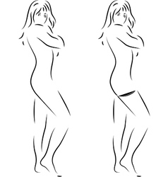 silhouette of a beautiful woman on white vector image vector image