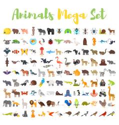 flat style big set of animals vector image