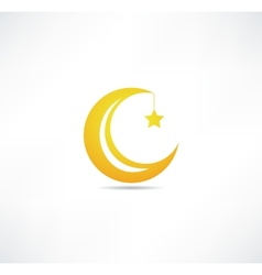 Moon and star icon vector