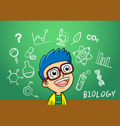 school boy write chemistry biology vector image vector image