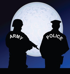 soldier and policeman on a moonlight color vector image vector image