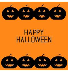 Black pumpkin frame halloween card for kids flat vector