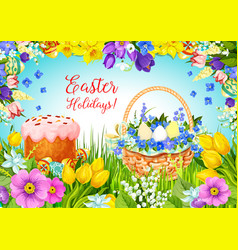 Easter paschal cake eggs flowers greeting vector