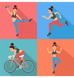 Fitness Woman Exercises in Flat Style vector image vector image