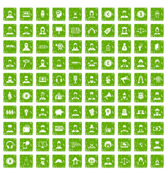 100 headhunter icons set grunge green vector