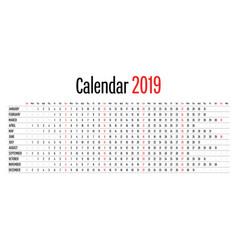 2019 calendar design horizontal dimension template vector