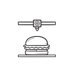 3d printer making hamburger hand drawn outline vector