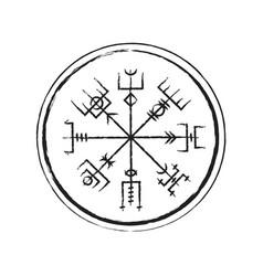 Abstract runic symbols circle vector