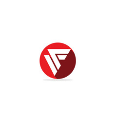 abstract shape f initial round logo vector image