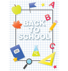 back to school flat paper graphics banner in a vector image
