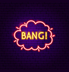 Bang neon label vector
