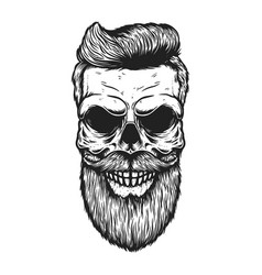 bearded skull with modern hairstyle design vector image