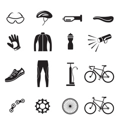 Bicycle Objects and Equipment Icons Set vector