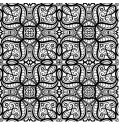 Black and white swirly lace pattern vector