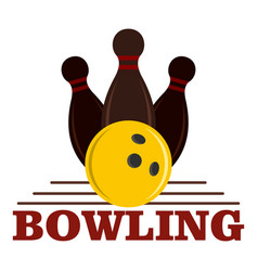 Bowling game logo flat style vector