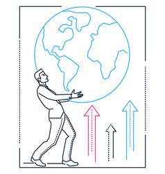 businessman holding a globe - line design style vector image