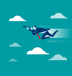 Businessman looking and flying to success vector