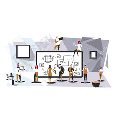 Businesspeople group using tablet computer app vector