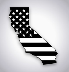 california map with usa flag black and white vector image