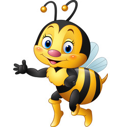 cartoon bee waving hand vector image