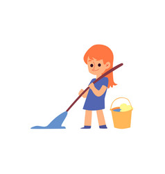 cartoon child holding broom and mop cleaning the vector image